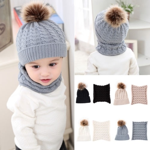 Toddler Kids Girl/&Boy Baby Infant Winter Crochet Wool Knitted Hat Beanie Cap