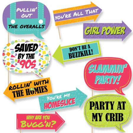 Funny 90's Throwback - Photo Booth Props Kit - 10 Piece](80's Photo Booth Ideas)