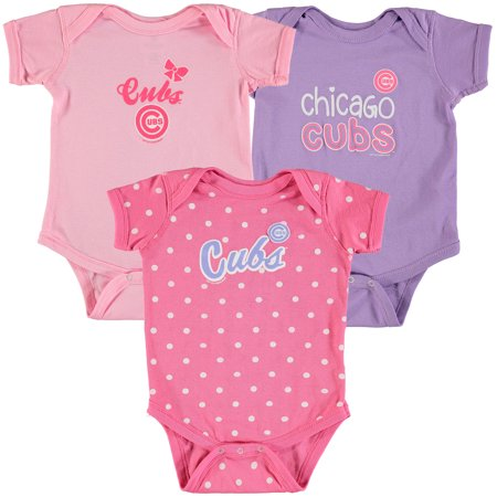 Chicago Cubs Infant Onesie - Chicago Cubs Soft as a Grape Girls Infant 3-Pack Rookie Bodysuit Set - Pink/Purple