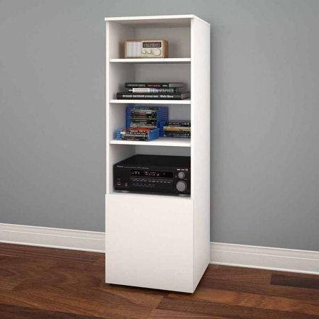 Nexera Arobas Bookcase/Audio Tower, White