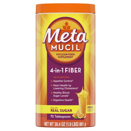 Metamucil Fiber, 4-in-1 Psyllium Fiber Supplement Powder with Real Sugar, Orange Smooth Flavored Drink, 72 Servings