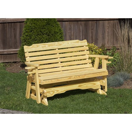 Outdoor Garden Lawn Exterior Gold Finish 4 Ft Amish Heavy Duty Classic Park Style Kiln-Dried Pine Porch Glider With Cup - Amish Pine Corner