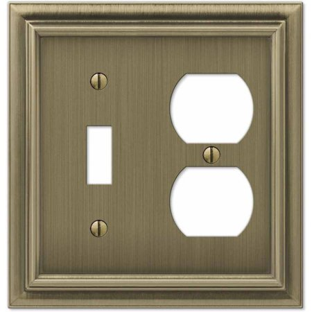 Continental Brushed Brass Cast Single Toggle/Single Duplex Wallplate
