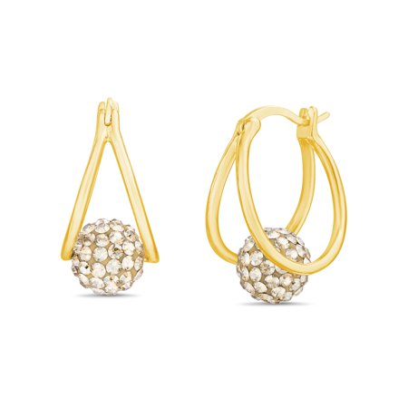 - Lesa Michele Women's Faceted Crystal Floating Fireball Double 15MM Hoop Earrings in Yellow Gold Plated Brass Made with Swarovski Crystals (Color: Champagne)