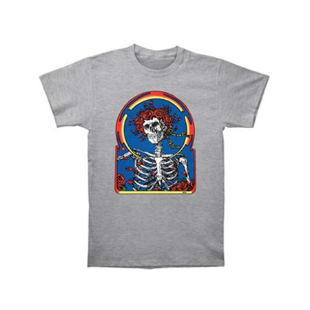 He Man Gray Skull - Grateful Dead Men's  Skull & Roses T-shirt Grey