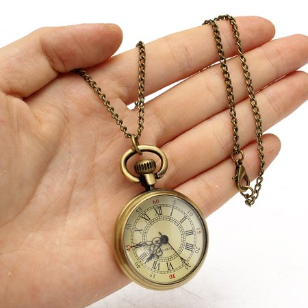 - Vintage Bronze Yellow Dial 31.5'' Chain Antique Pocket Watch Men's Necklace Gift US