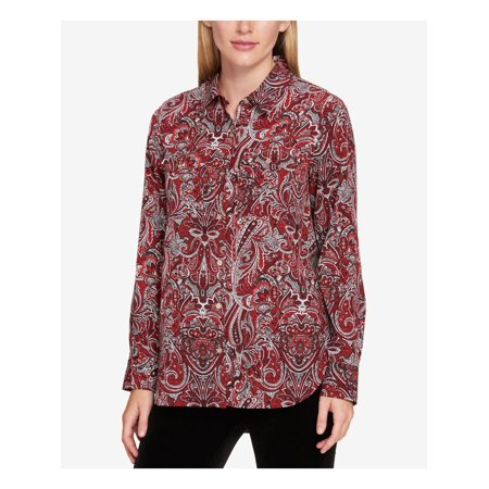 TOMMY HILFIGER Womens Red Floral Cuffed Button Up Formal Top Size S