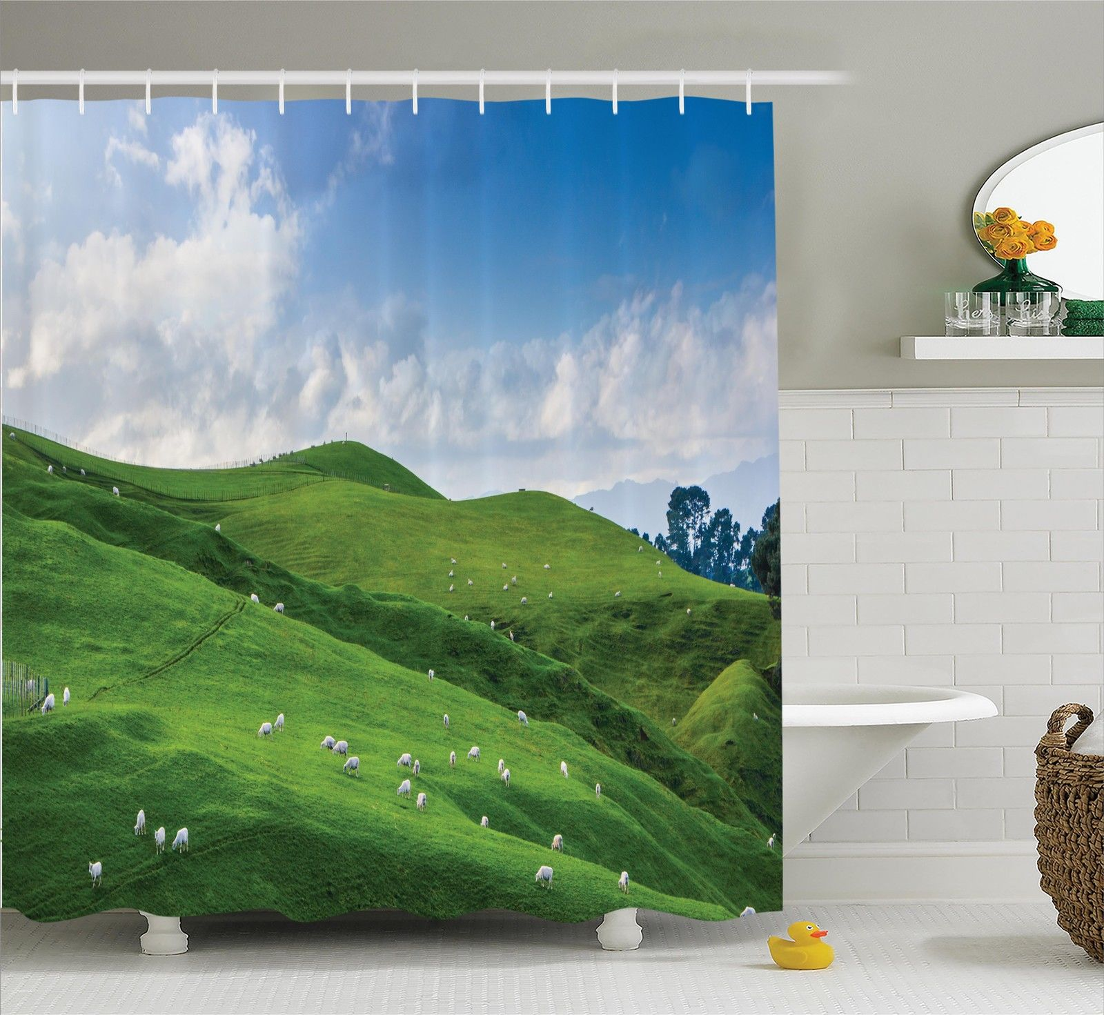 Farm House Decor Shower Curtain Set, Sheep Under Blue Sky Trees Grassland Highland Nature Landscape Scenery Picture, Bathroom Accessories, 69W X 70L Inches, By Ambesonne