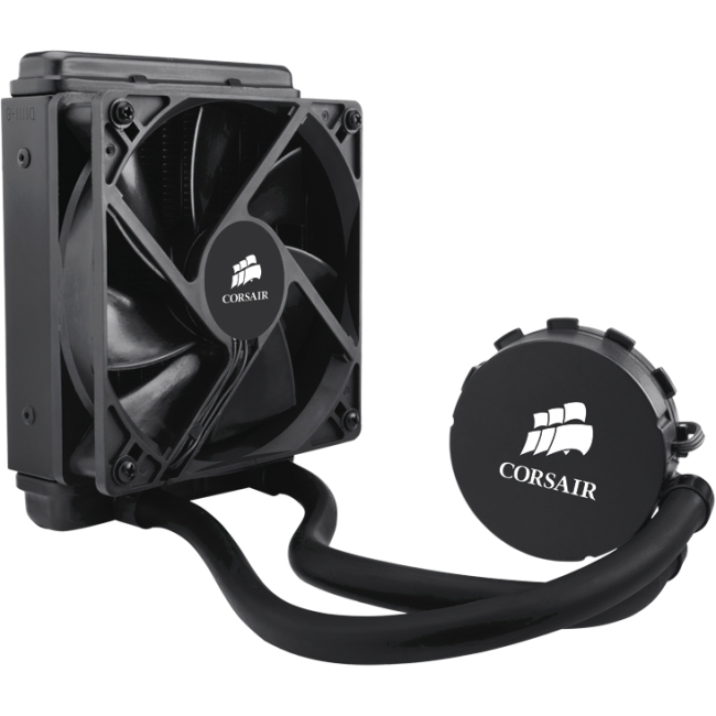 Corsair Hydro Series H55 Quiet CPU Cooler - 1 x 120 mm - 1700 rpm - Liquid Cooler Cooler - Socket AM2 PGA-940, Socket AM3 PGA-941, Socket FM1, Socket H2 LGA-1155, Socket H LGA-1156, Socket B LGA-1366,