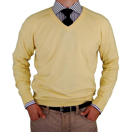 LN LUCIANO NATAZZI Classic Fit V-Neck Premium Cotton Sweater Cashmere Touch Sunlight