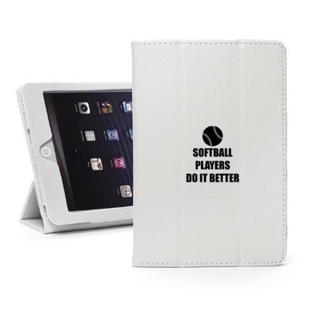For Apple iPad Mini 4 White Leather Magnetic Smart Case Cover Stand Do It Better Softball