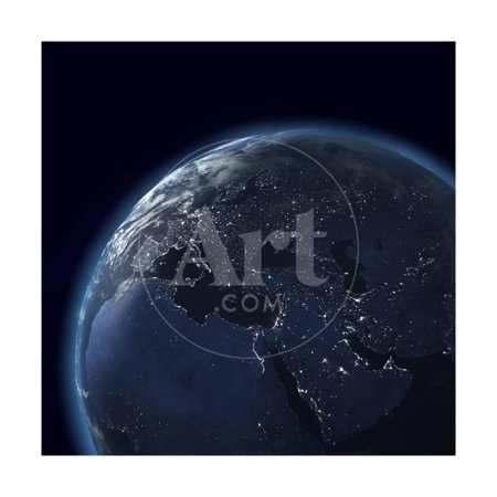 Night Globe With City Lights, Detailed Map Of Asia, Europe, Africa, Arabia Print Wall Art By (Map Of Europe And Asia With Capitals)