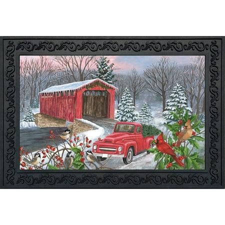 Winter Covered Bridge Seasonal Doormat Pickup Truck Indoor Outdoor 18