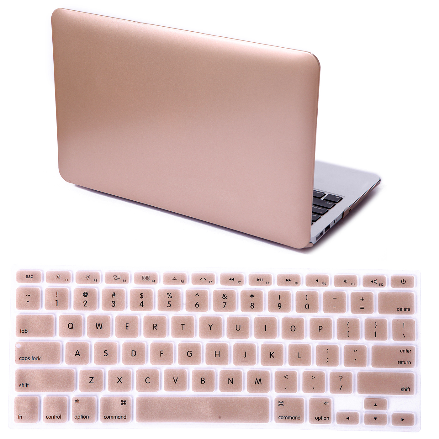 "HDE MacBook Air 13"" Case Hard Shell Cover Solid Metallic Plastic + Keyboard Skin - Fits 13.3"" Apple Mac Air Notebook Model A1369 / A1466 (Gold)"