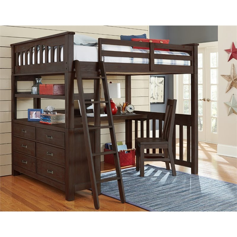 NE Kids Highlands Full Slat Loft Bed with Desk and Dresser in Espresso
