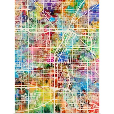 Great BIG Canvas | Rolled Michael Tompsett Poster Print entitled Las Vegas City Street Map](Halloween City Jobs Las Vegas)