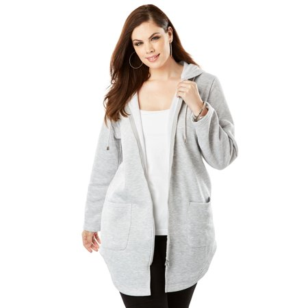 7ab78db4849 Roaman s - Plus Size Lightweight Hooded Fleece Jacket - Walmart.com