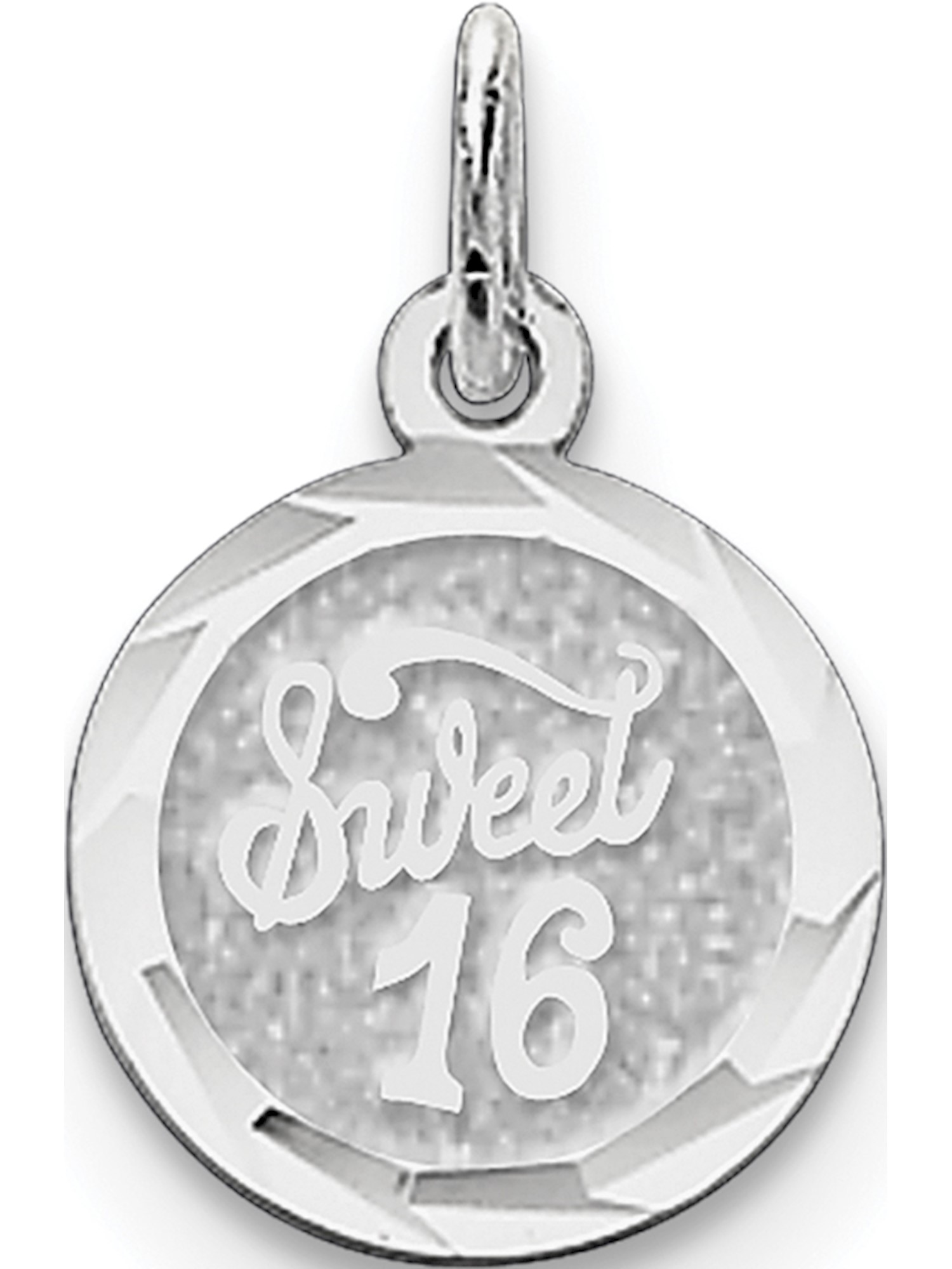 925 Sterling Silver Rhodium-plated Sweet Sixteen Disc Charm