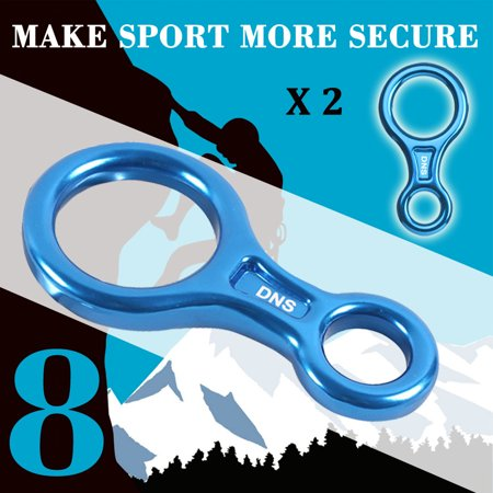 35Kn   3500Kg Rescue Figure 8 Descender Rappel Device Equipment  2 Pack  Iclover Rigging Plate  For Rappelling Belaying Rock Climbing Blue