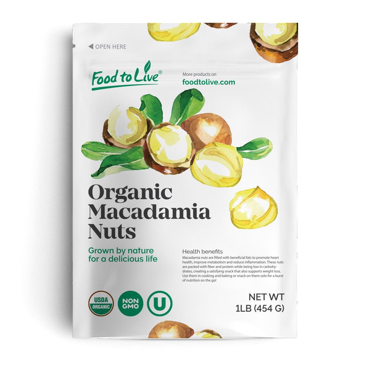 Food To Live ® Organic Macadamia Nuts (Raw) (1 Pound)