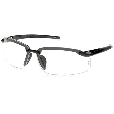 ES5 Reader Crossfire Safety Glasses Clear Diopter 2.5 Shiny Pearl Gray Frame, Sleek Lightweight, Stylish Design for work and play By Radians (Prescription Work Glasses)