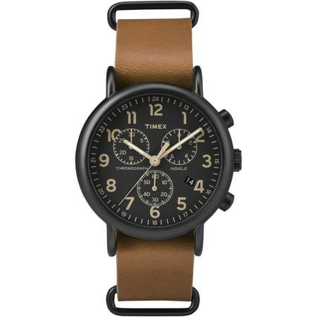 Chrono Leather (Weekender Chrono Black Watch, Tan Leather Slip-Thru Strap)