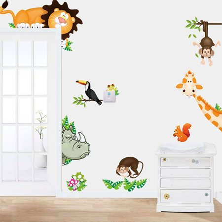 2015 Jungle Animal Kids Baby Nursery Child Home Decor Mural Wall Sticker Decal