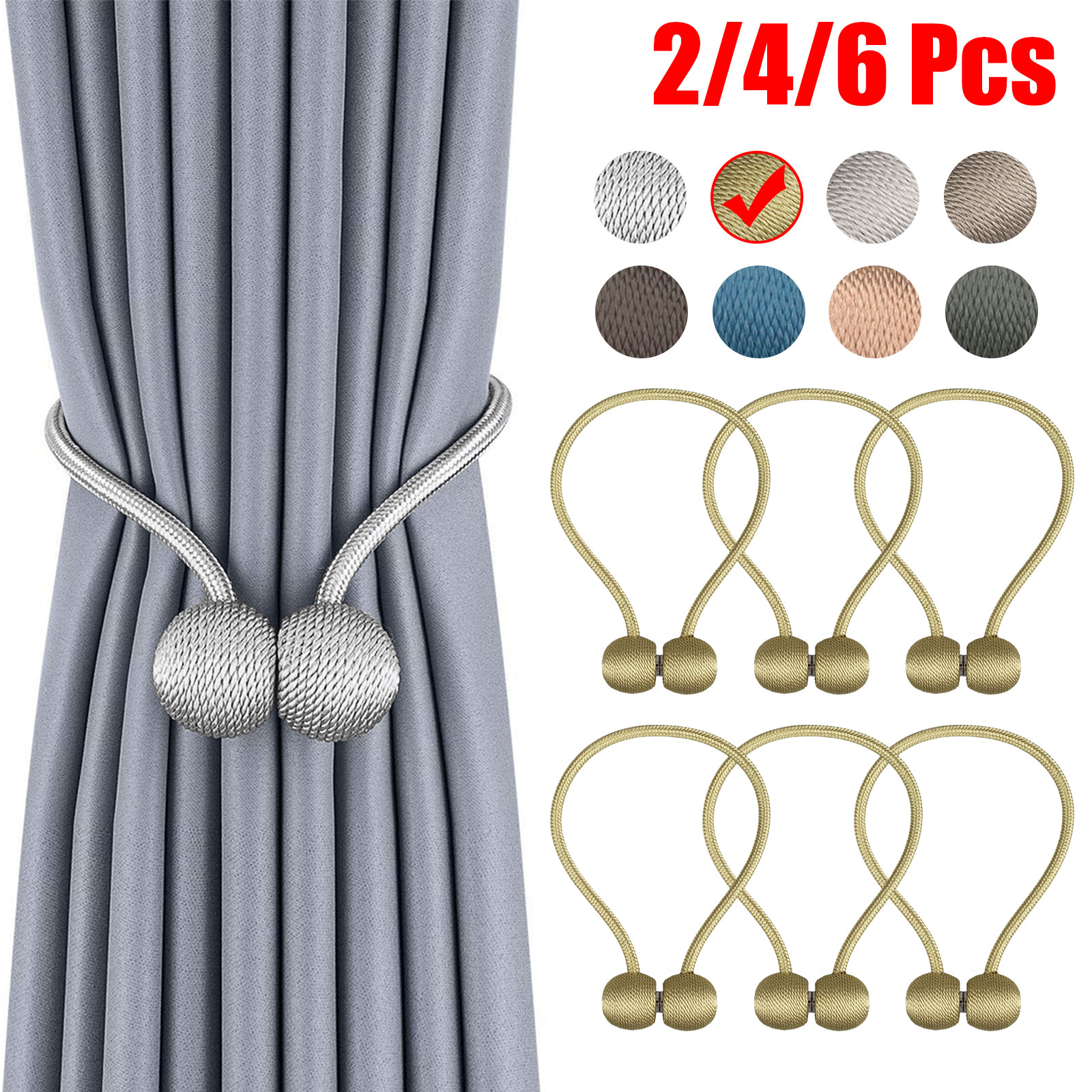 4 PACK Magnetic Curtain Tiebacks Most Convenient Drapery Holdbacks Luxury Decor