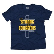 Christian V Neck T Shirt Be Strong And Courageous Cross Faith Fish Jesus Tee by Christian Strong