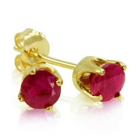 Amanda Rose Collection Ruby Stud Earrings Set in 14k Yellow Gold, 0.60 ct