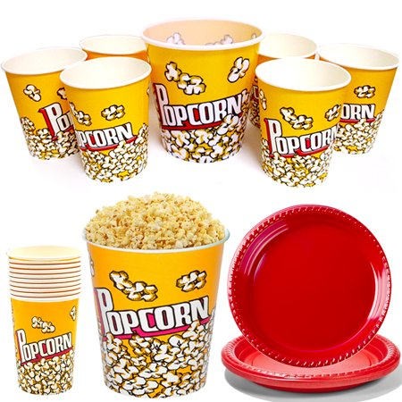 22 Pc Paper Popcorn Bowl Plastic Tub Container Movie Party Favor Theater Buckets](Plastic Popcorn Buckets)