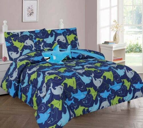 8-PC FULL SHARK  BLUE Complete Bed In A Bag Comforter Bedding Set With Furry Friend and Matching Sheet Set for Kids ()