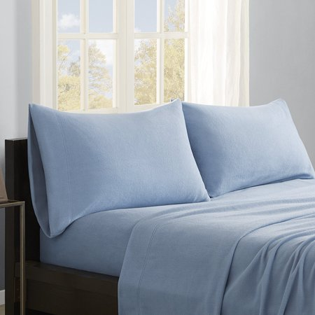 Micro Fleece Sheet Set  Full  Blue  Set Includes  1 Flat Sheet  1 Fitted Sheet  2 Pillowcases By True North By Sleep Philosophy