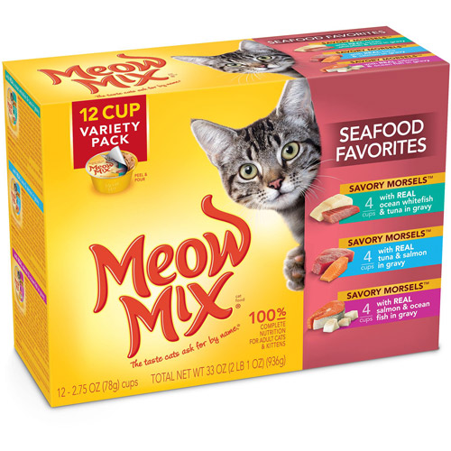 Meow Mix Savory Morsels Seafood Favorites Wet Cat Food Variety Pack, 2.75-Ounce Cups (Pack of 12)