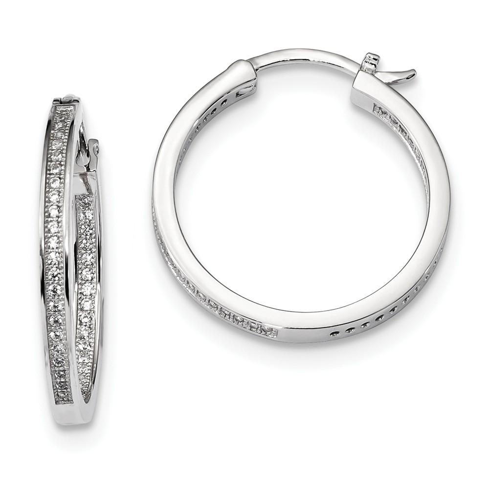Sterling Silver & CZ Brilliant Embers 0.9IN Hoop Earrings (1IN x 1IN )