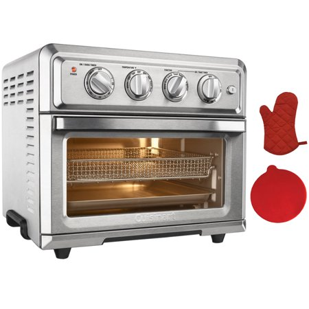 Cuisinart Convection Toaster Oven Air Fryer with Light, Silver (TOA-60) with Deco Gear Red Silicon Trivet & Deco Gear Red Oven Mitt - Red Togas