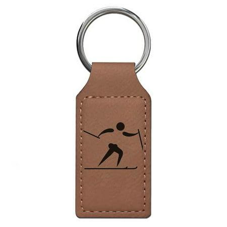 Keychain - Skier Cross Country (Dark Brown