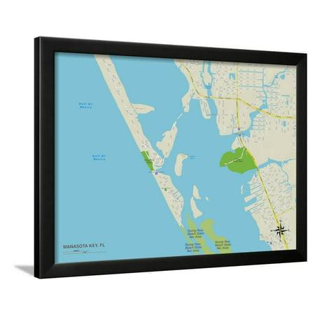 Political Map Of Manasota Key Fl Framed Print Wall Art Walmart Com