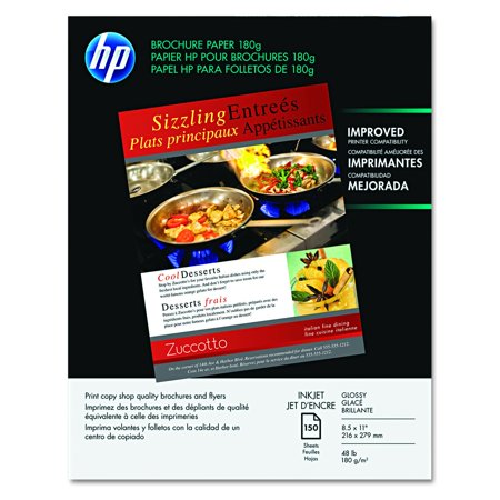 HP Brochure Paper, Glossy (150 Sheets, 8.5 x 11 Inches, 180 g) 92 Brightness Q1987A, HP Business Communications Inkjet Paper and Film. - This paper has a 92 Brightness. By Hewlett Packard