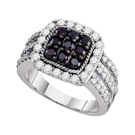 10kt White Gold Womens Round Black Color Enhanced Diamond Square Cluster Ring 2.00 Cttw - image 1 de 1