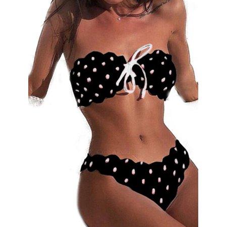 Womens Spotted Swimwear Padded Bikini Set Push-up Bandeau Beach Bathing Swimsuit