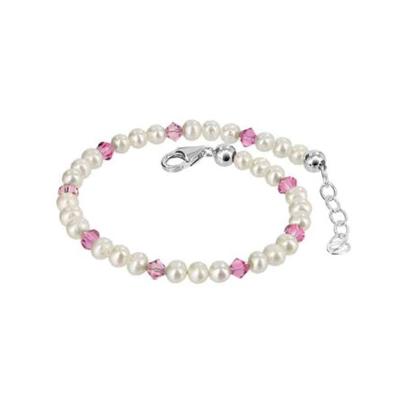 Gem Avenue 925 Silver Faux Pearl & Crystal Bracelet 7 to 8