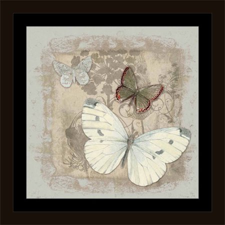 Vintage Botanical Butterfly Painting Grey & Tan, Framed Canvas Art ...