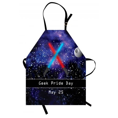 Galaxy Apron Gift for Geek Pride Day May 25 Stars Galaxy Universe Theme Pattern Print, Unisex Kitchen Bib Apron with Adjustable Neck for Cooking Baking Gardening, Blue Black and Red, by