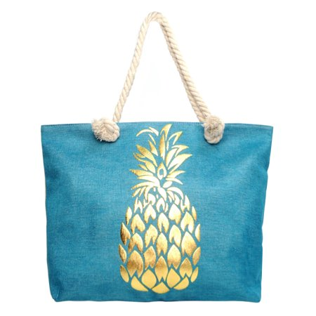 Blue Canvas Tote - Turquoise Blue Golden Pineapple Canvas Beach Tote Bag