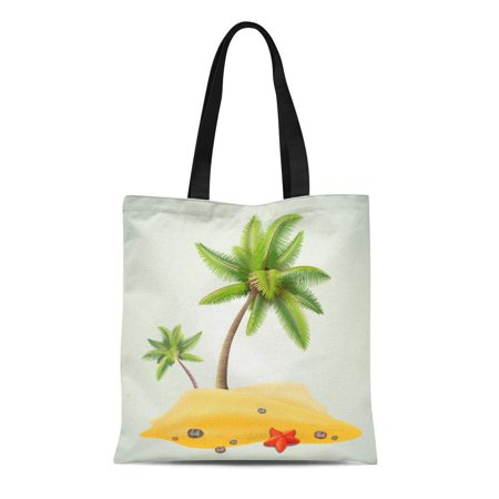 ASHLEIGH Canvas Tote Bag Green Island Sunny Palm Beach Yellow Tree Sand Tropic Durable Reusable Shopping Shoulder Grocery Bag - Yellow Sand Beach
