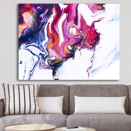 DESIGN ART Designart 'Purple, Pink and Blue Hand Painted Marble Composition' Mid-Century Modern Premium Canvas Wall Art - Purple ()