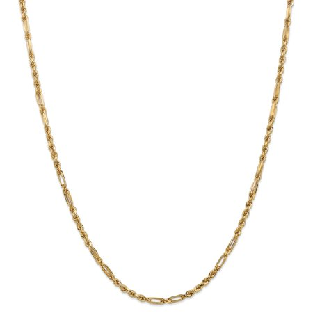3mm, 14k Yellow Gold, Diamond Cut, Milano Rope Chain Necklace, 20 Inch