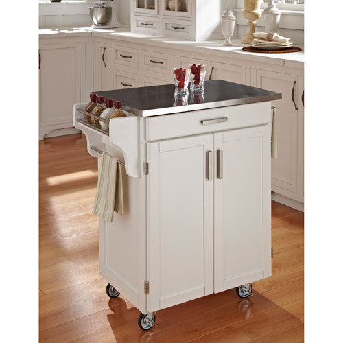Cocina Kitchen Cart With Stainless Steel Top: Home Styles Cuisine Kitchen Cart, White With Stainless