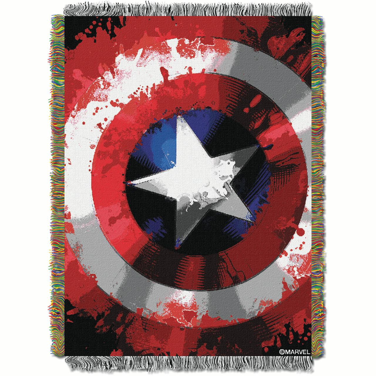 "Marvel Captain America ""Star Shield"" 48"" x 60"" Woven Tapestry Throw"